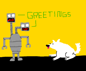 Two-headed robot greets dog