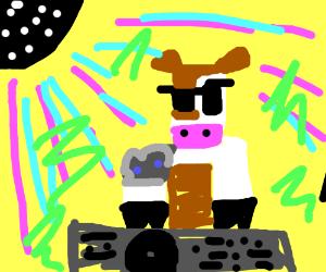 Techno Dj Cow Drawception