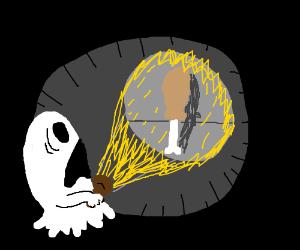 Chicken leg scares ghost