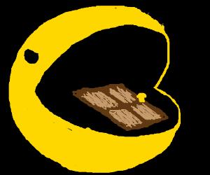 Death Pacman eats a door