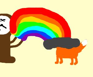 Clock uses rainbowpowers to defeat fox