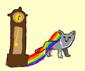 Grandpa clock casts rainbow unto fox
