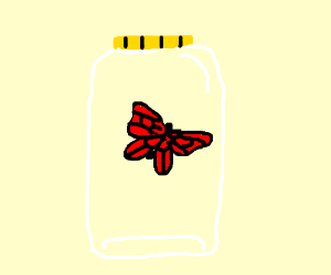 red butterfly in a jar