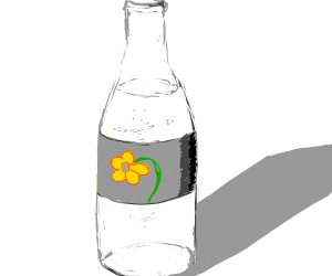 Bottle of water with flower on label