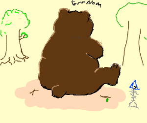 The backside of a bear