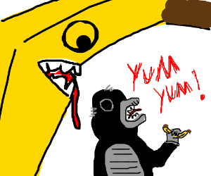 banana about to eat the monkey