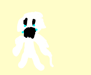 A sad white blob in human shape