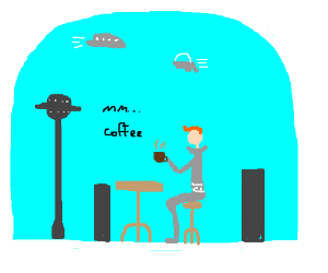 Futuristic old man thinks coffee tastes good