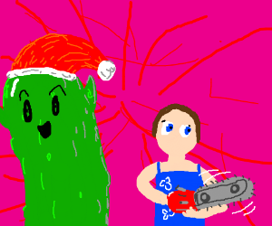 Cucumber Elf and Girl with chainsaw