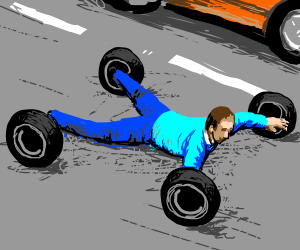 Human tranformed into a car using only tires
