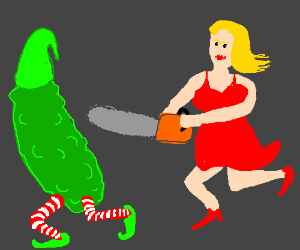 Pickle-elf is chased by woman with a chainsaw