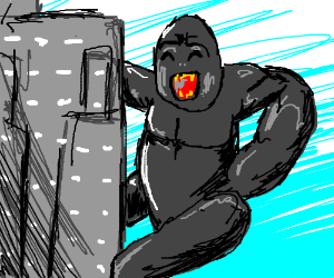 happy king Kong climbs the sky scrapper