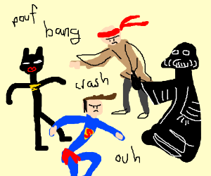 Batman & superman vs kylo ren and Darth Vader