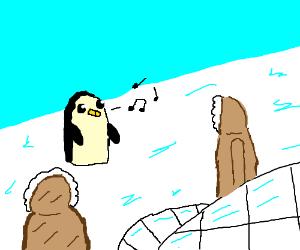 Eskimos enchanted by whistling penguin(gunter)