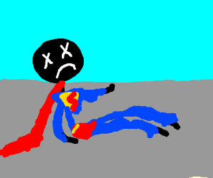 Superman Stickman is not happy and living