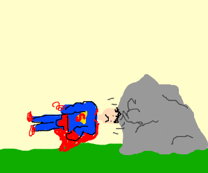 Superman headbutts a rock n looks depressed