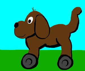 Clifford the big brown puppy on wheels