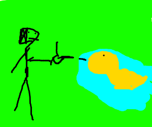 Guy shooting a duck with his thumb