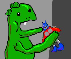 Godzilla took a bite out of Optimus Prime