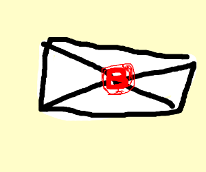 """Letter sealed with a red """"B""""."""