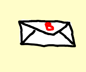 An envelope with a b over it