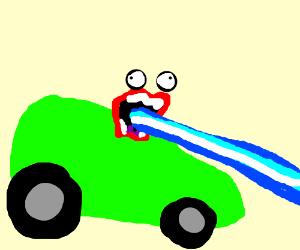 Firin' his Laz0r while drivin'