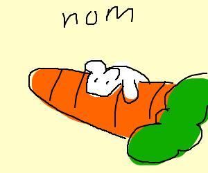 A mouse eats a carrot.
