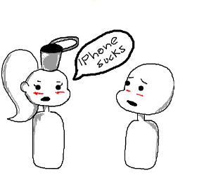 "Lady w/bucket on head tells man ""iphone sucks"""