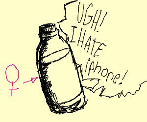 female bottle hates iphone