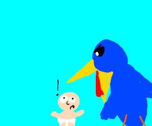 Bird eating baby