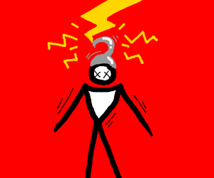 Hook-haired man in lightning, red background