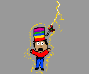 Man with weird hat is struck by lightning