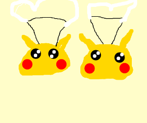 2 pikachus using parachutes
