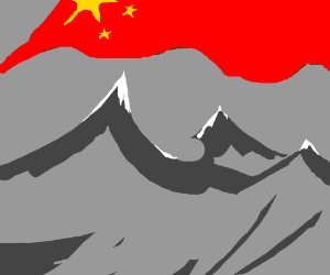 mountain range with chinese flag covering sky