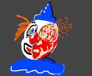 Half a scary clown face