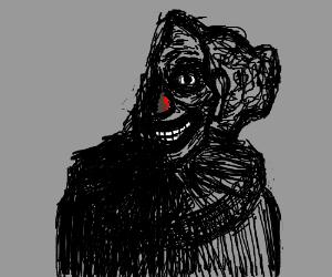 Clown is missing half his face, still smiling