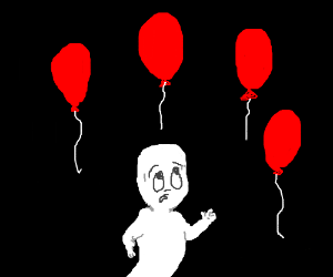 Casper is sad because all the balloons are red