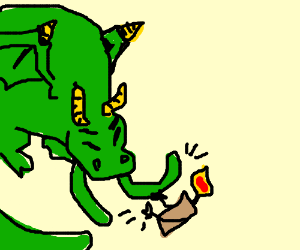 Dragon and candle have slap fight