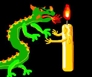 Dragon and candle hold hands - ooh la la!