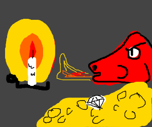 Dragon lights a candle.
