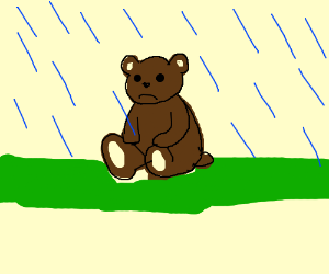 Sad bear in the rain :(