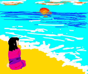 Girl with pink yukata sitting on the beach.