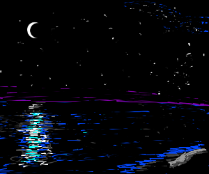 Moonlight on the still ocean