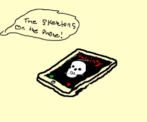 skeleton on the phone