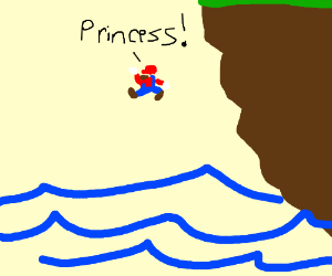 mario jumps off of a cliff yelling princess