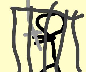 Prisoner struggling to hold a katana