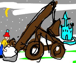 Aiming a snowball catapault