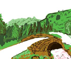 A beautiful landscape scene with a bridge