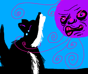 A crying wolf is about to die of a purple sun