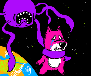 Purple, tentacled moon grabbing crying wolf